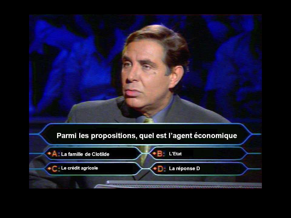Parmi les propositions, quel est l'agent économique