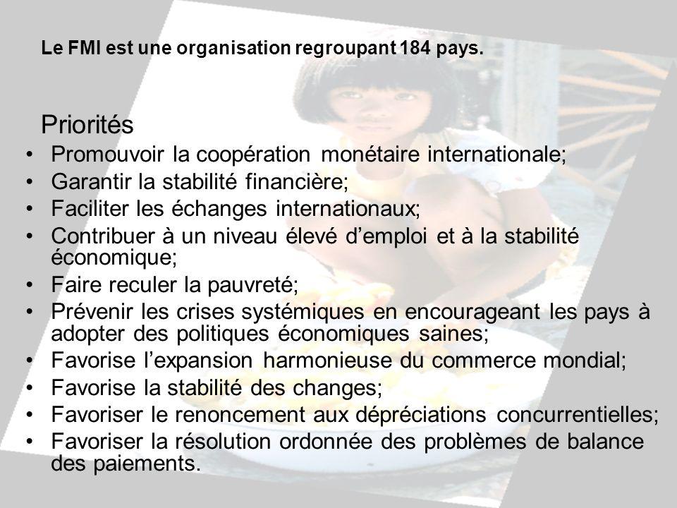 Le FMI est une organisation regroupant 184 pays. Priorités