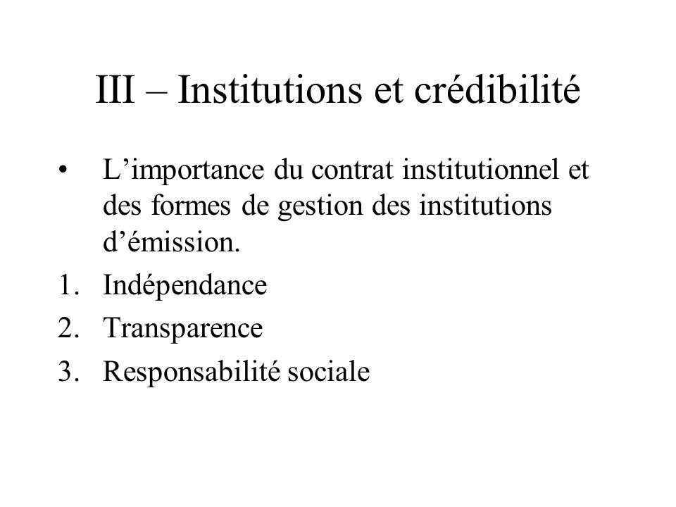 III – Institutions et crédibilité