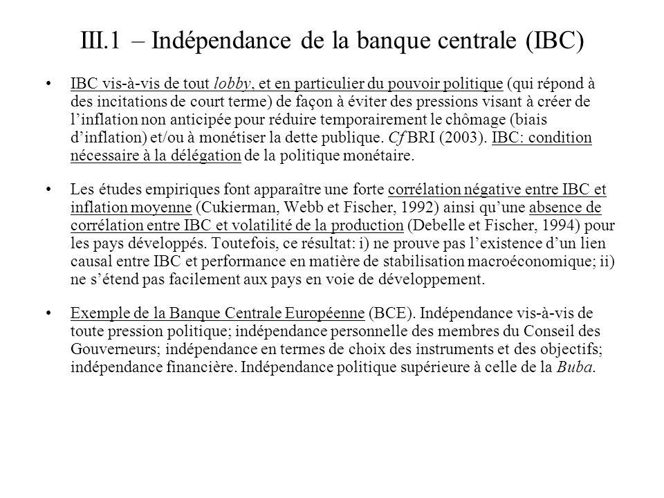 III.1 – Indépendance de la banque centrale (IBC)