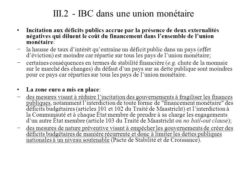 III.2 - IBC dans une union monétaire