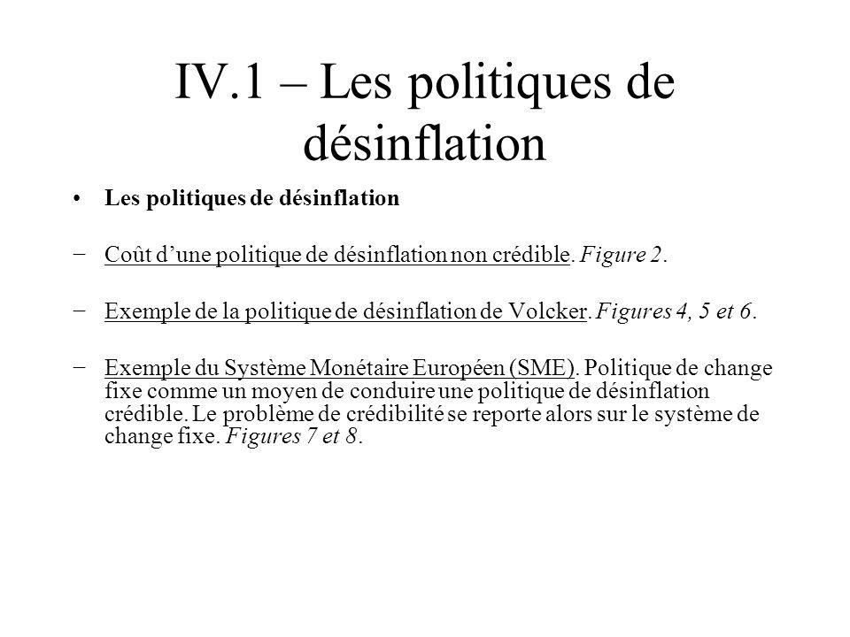 IV.1 – Les politiques de désinflation