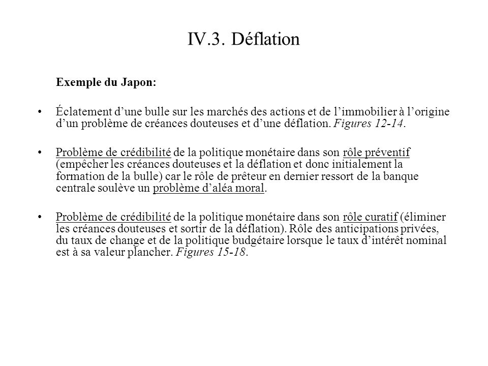 IV.3. Déflation Exemple du Japon: