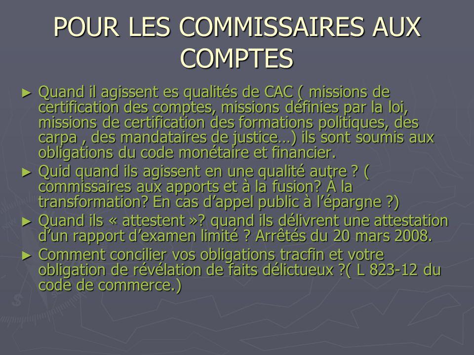 POUR LES COMMISSAIRES AUX COMPTES