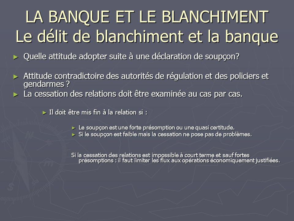 LA BANQUE ET LE BLANCHIMENT Le délit de blanchiment et la banque
