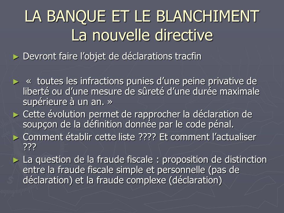 LA BANQUE ET LE BLANCHIMENT La nouvelle directive