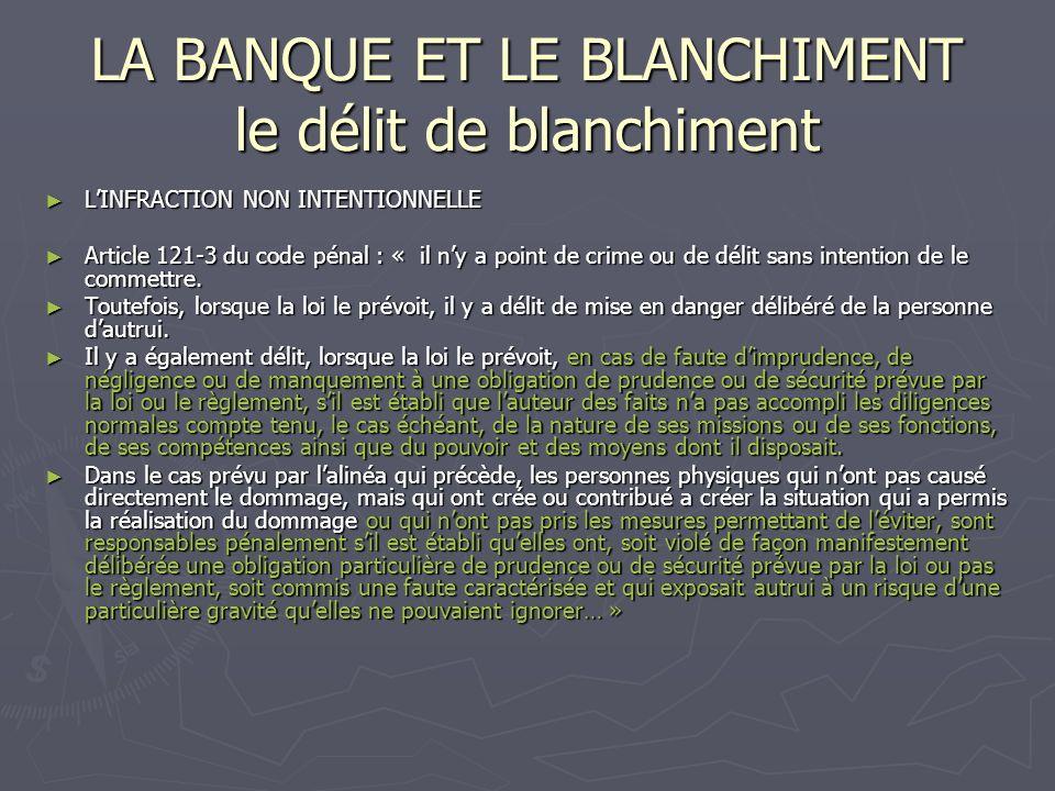 LA BANQUE ET LE BLANCHIMENT le délit de blanchiment