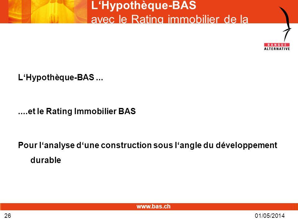L'Hypothèque-BAS avec le Rating immobilier de la BAS©