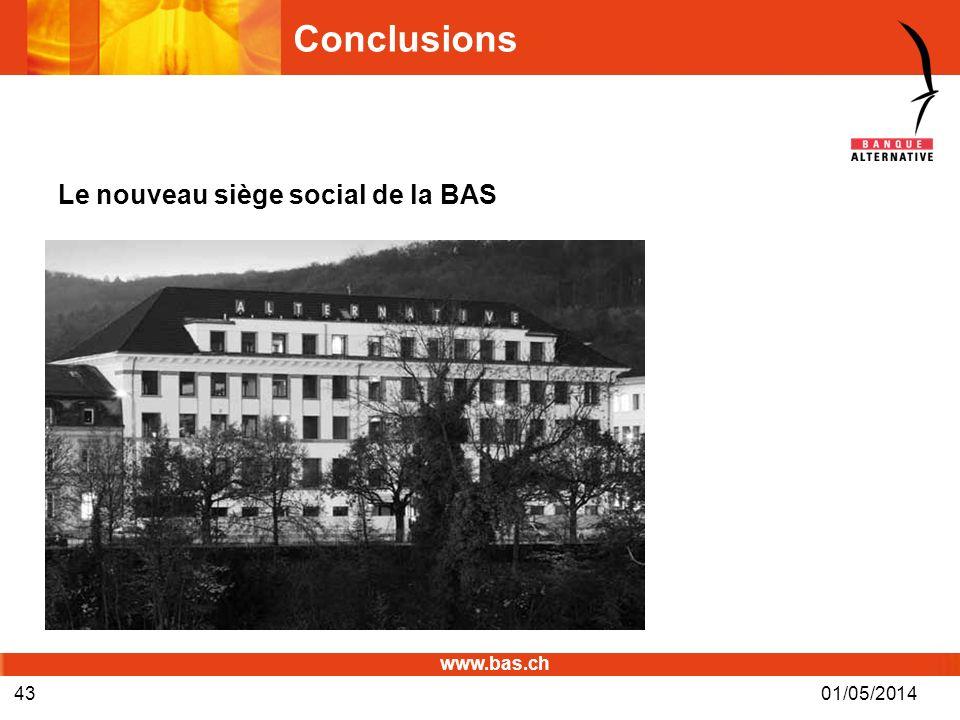 Conclusions Le nouveau siège social de la BAS 30/03/2017