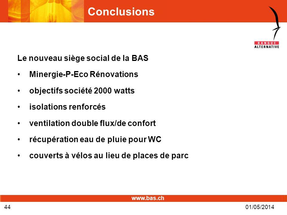 Conclusions Le nouveau siège social de la BAS