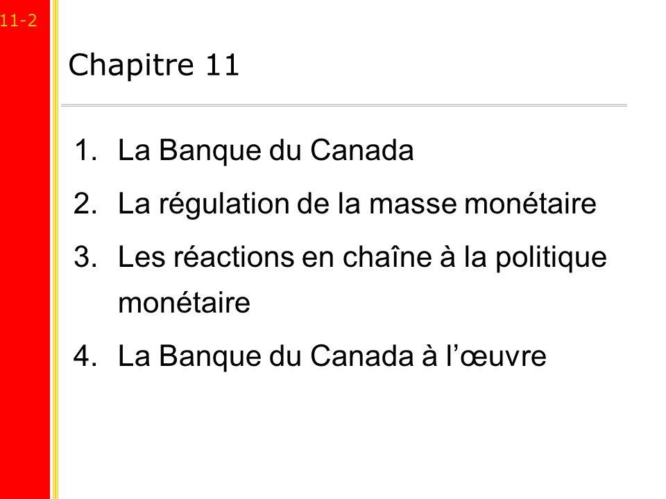 Chapitre 11 La Banque du Canada. La régulation de la masse monétaire. Les réactions en chaîne à la politique monétaire.