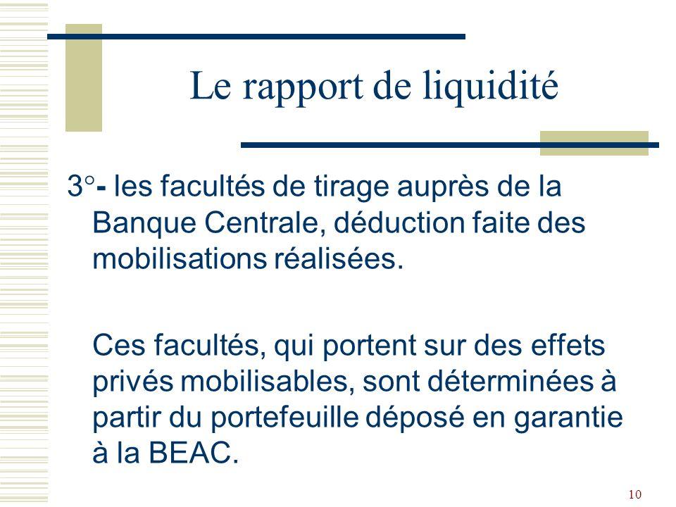 Le rapport de liquidité
