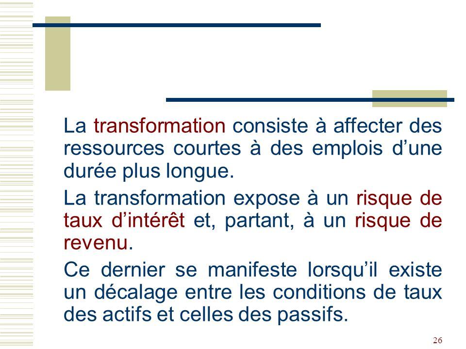 La transformation consiste à affecter des ressources courtes à des emplois d'une durée plus longue.