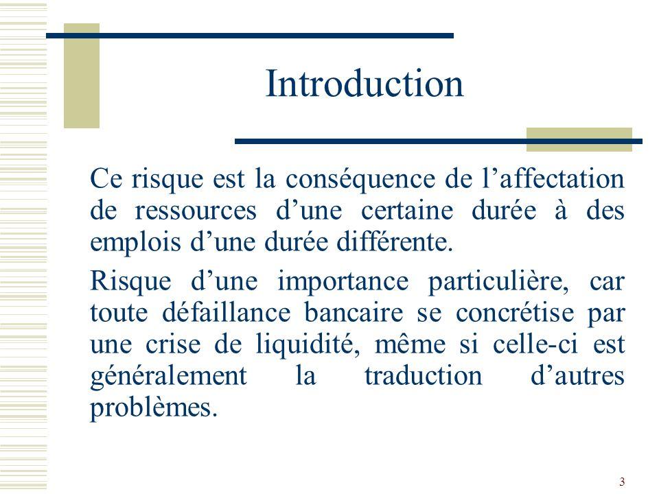 Introduction Ce risque est la conséquence de l'affectation de ressources d'une certaine durée à des emplois d'une durée différente.