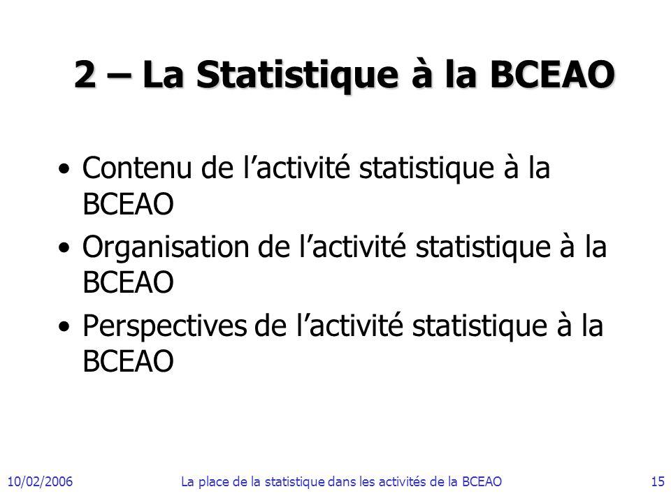 2 – La Statistique à la BCEAO