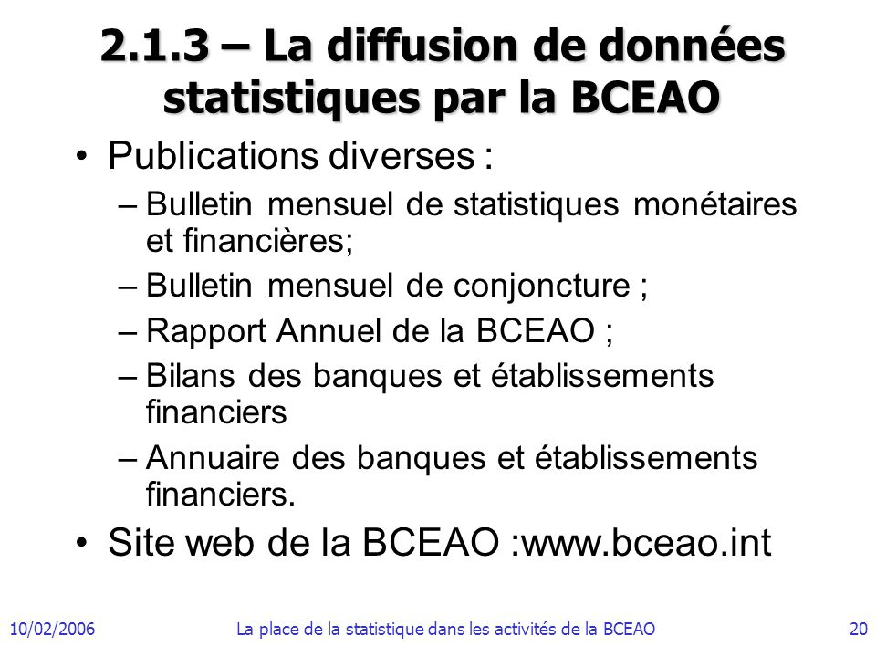 2.1.3 – La diffusion de données statistiques par la BCEAO