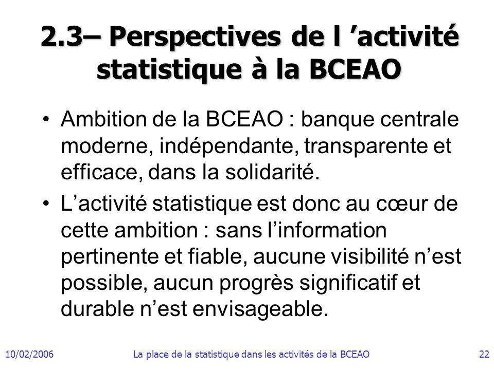 2.3– Perspectives de l 'activité statistique à la BCEAO