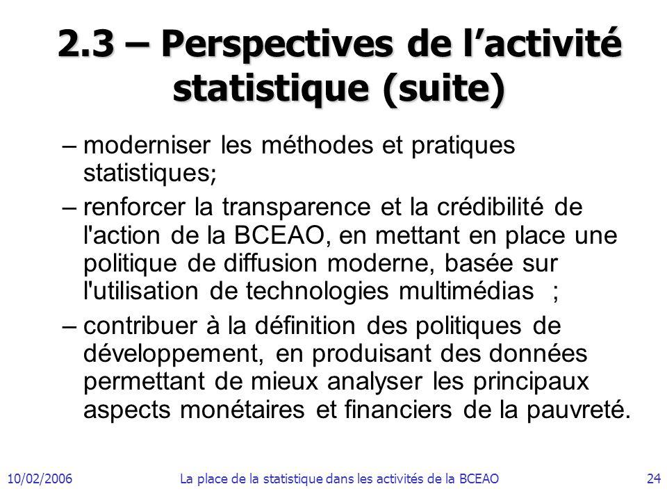 2.3 – Perspectives de l'activité statistique (suite)