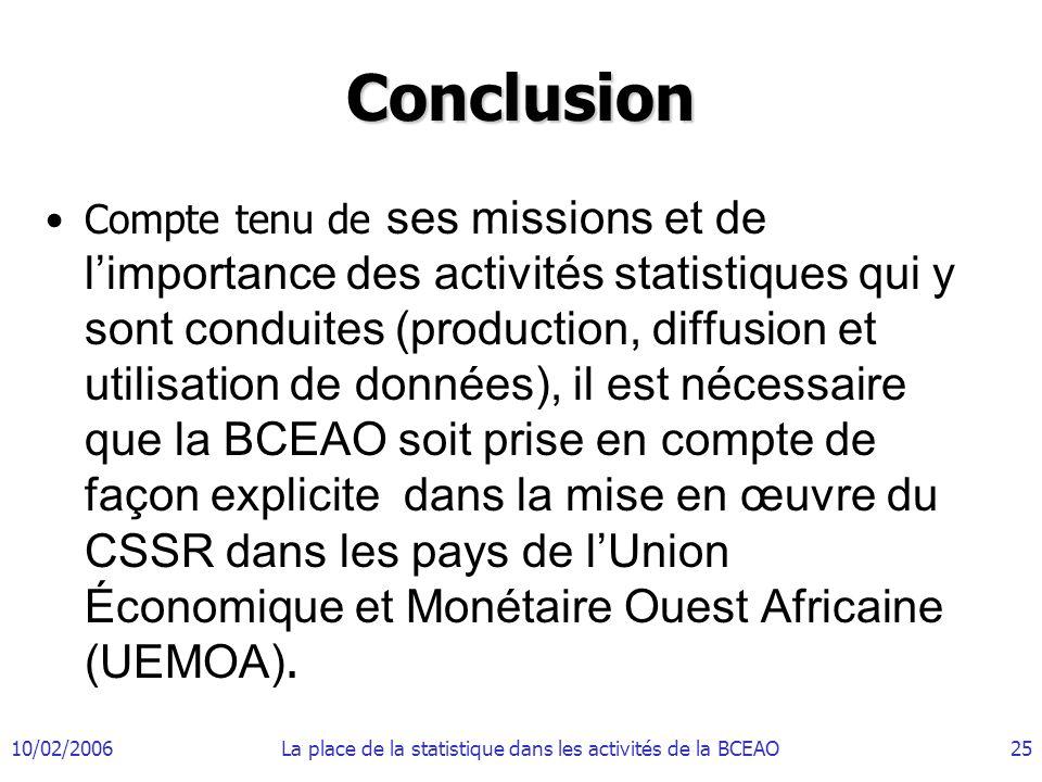 La place de la statistique dans les activités de la BCEAO