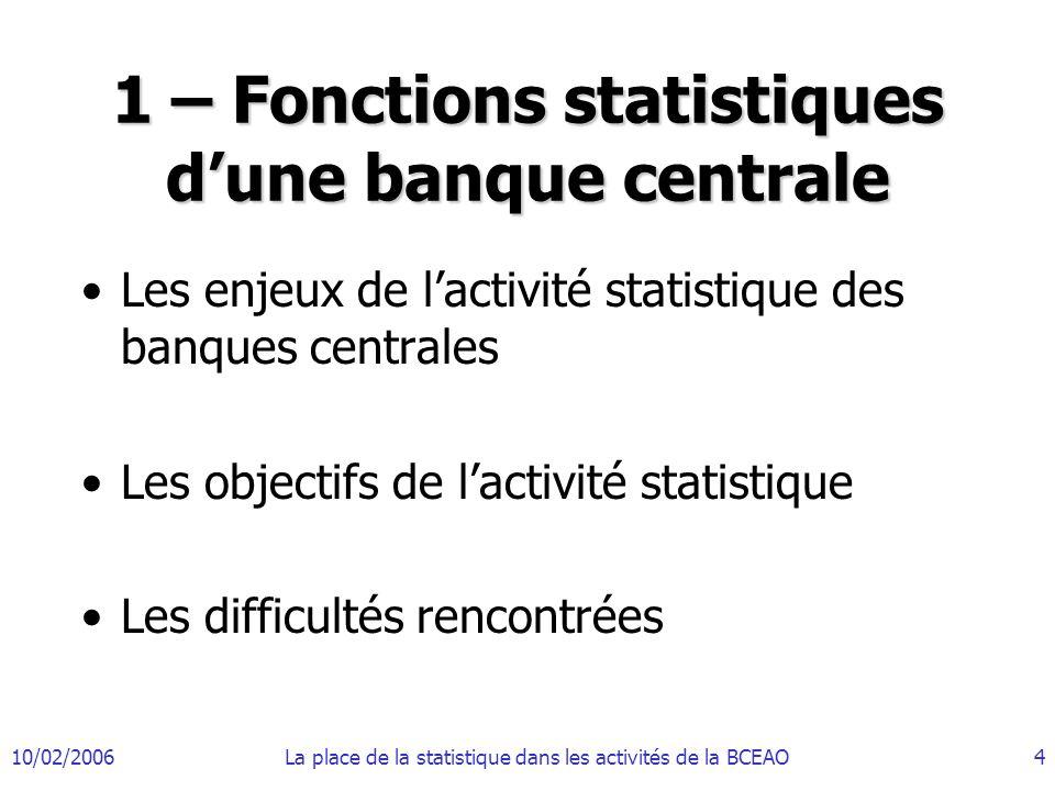 1 – Fonctions statistiques d'une banque centrale