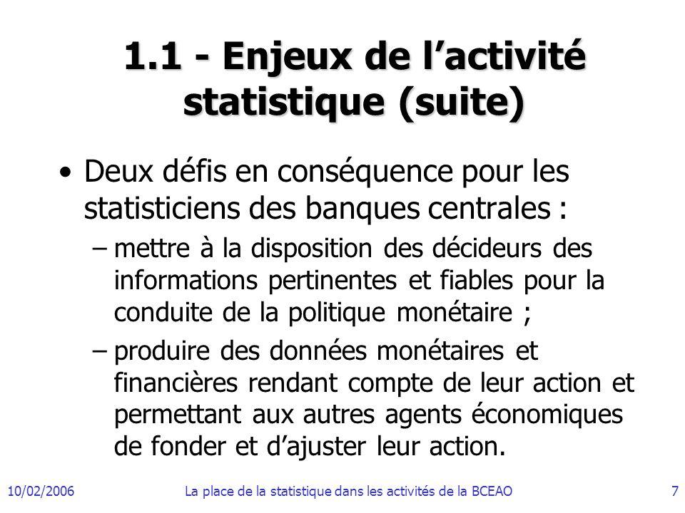 1.1 - Enjeux de l'activité statistique (suite)