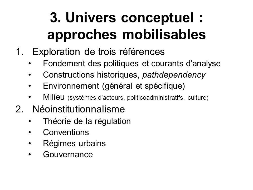 3. Univers conceptuel : approches mobilisables