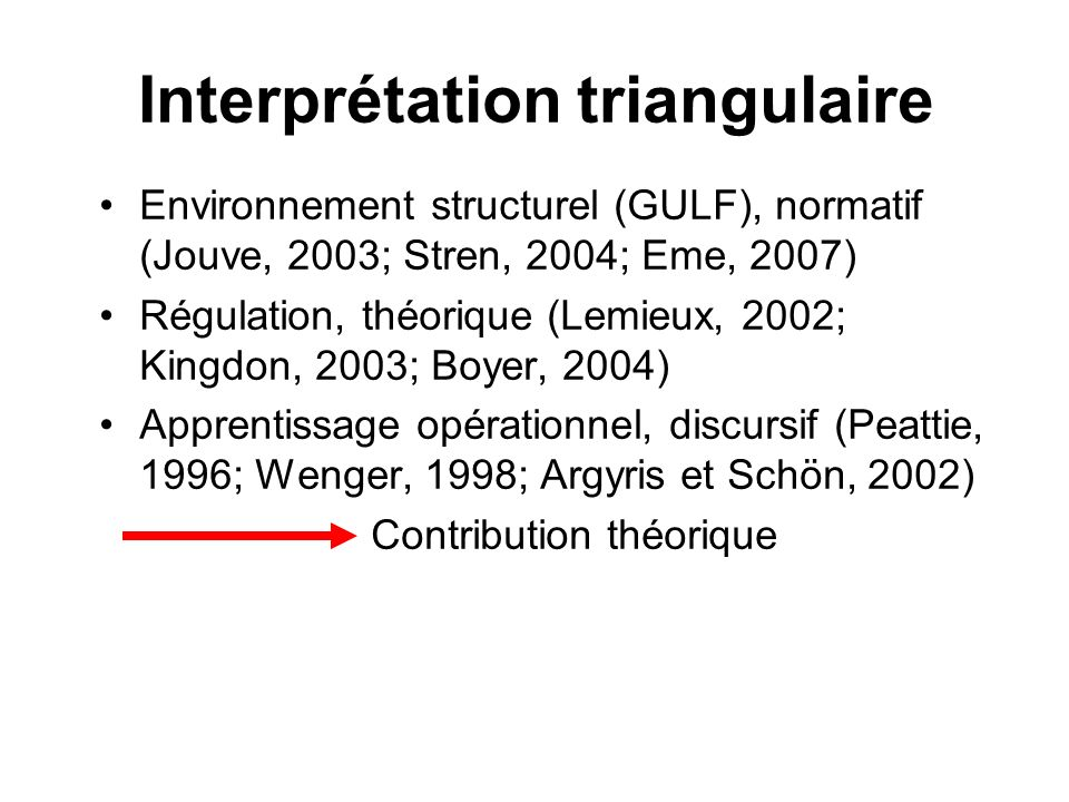 Interprétation triangulaire