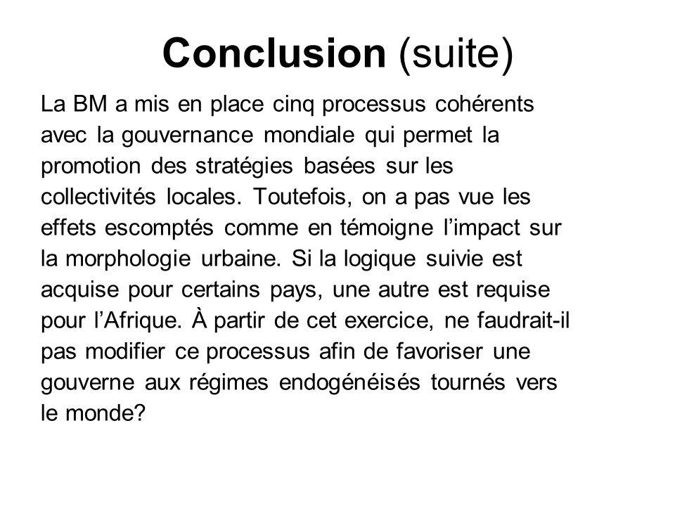Conclusion (suite) La BM a mis en place cinq processus cohérents