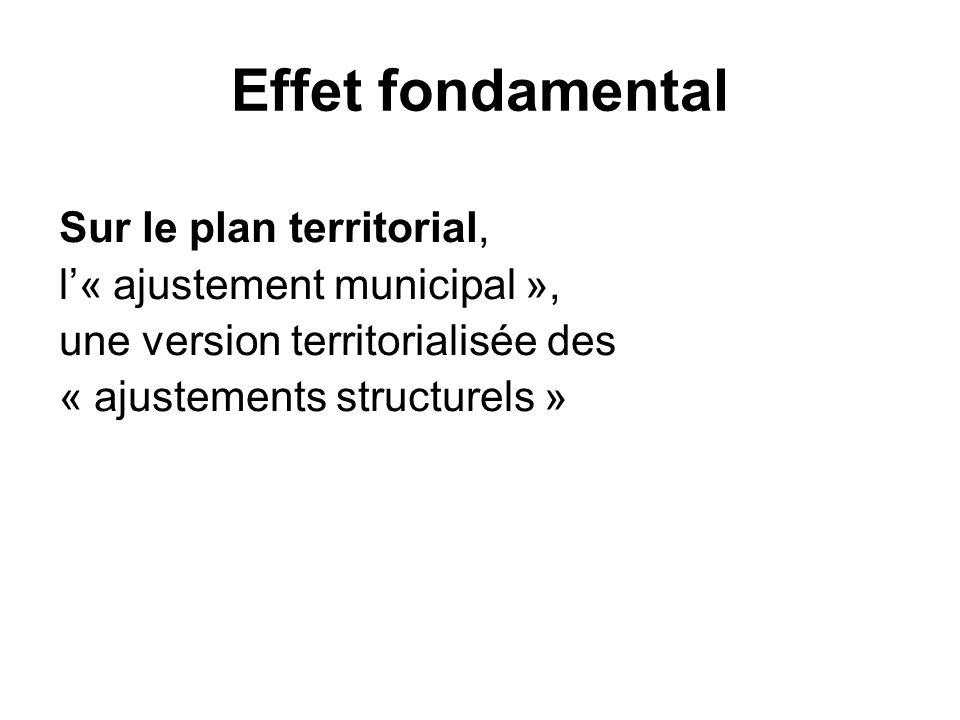 Effet fondamental Sur le plan territorial, l'« ajustement municipal »,