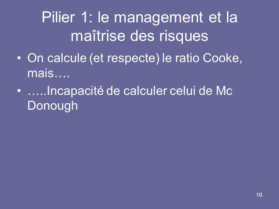 Pilier 1: le management et la maîtrise des risques