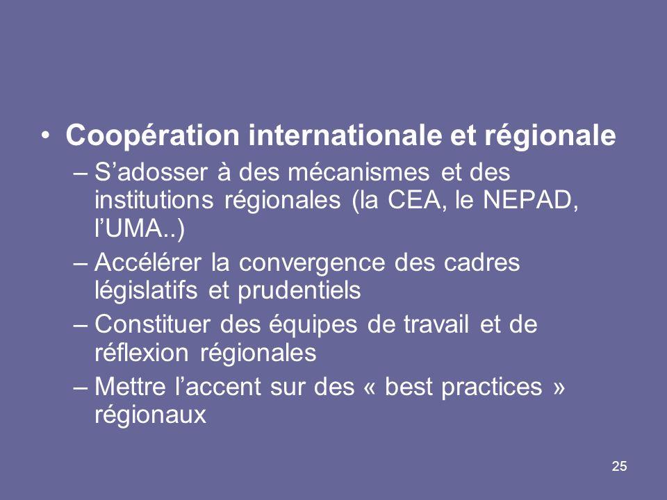 Coopération internationale et régionale