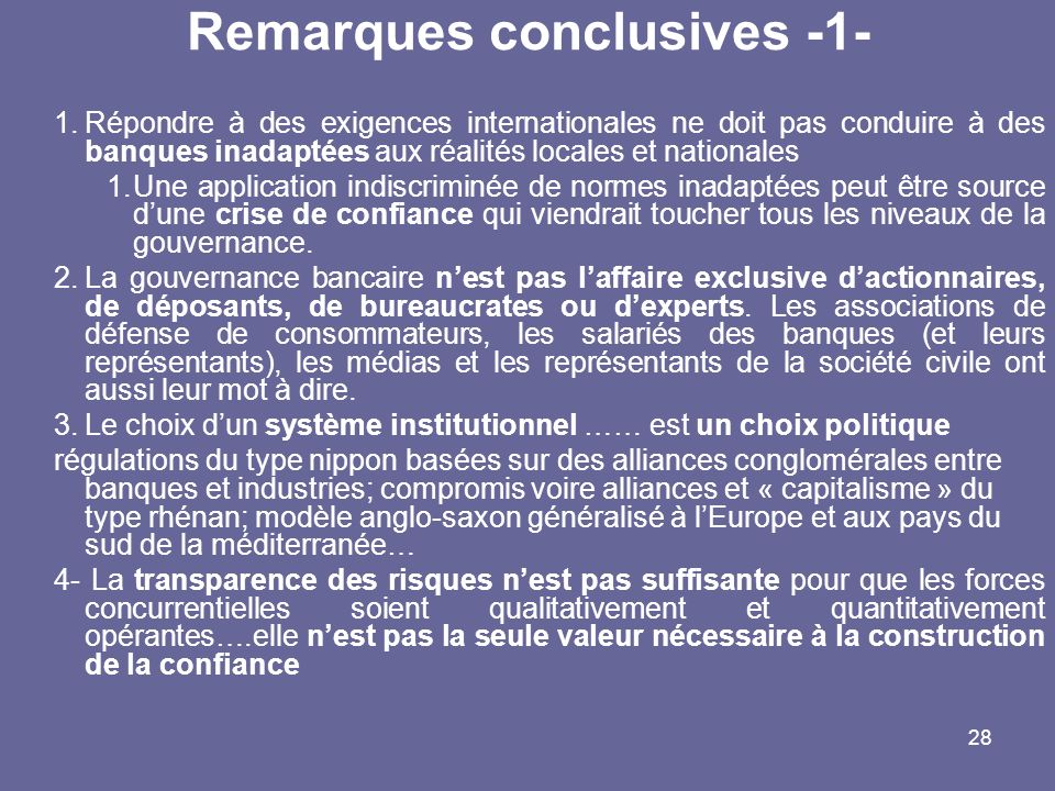Remarques conclusives -1-