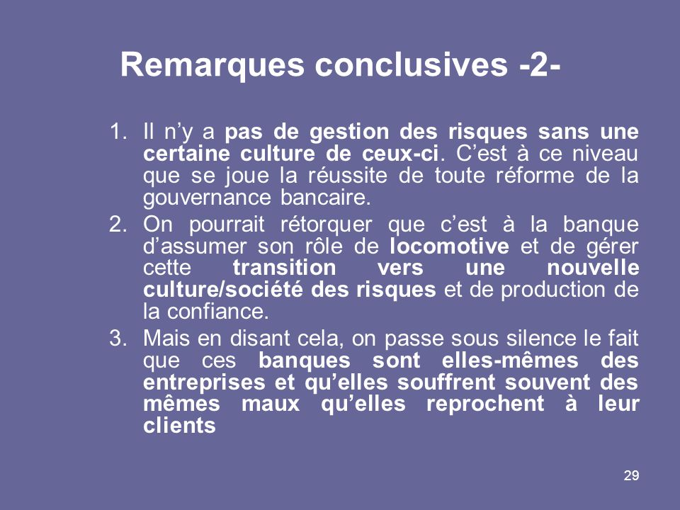Remarques conclusives -2-