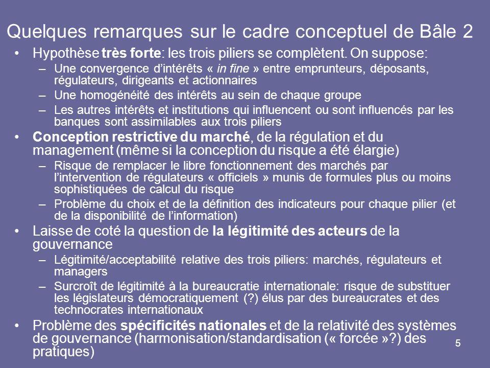 Quelques remarques sur le cadre conceptuel de Bâle 2