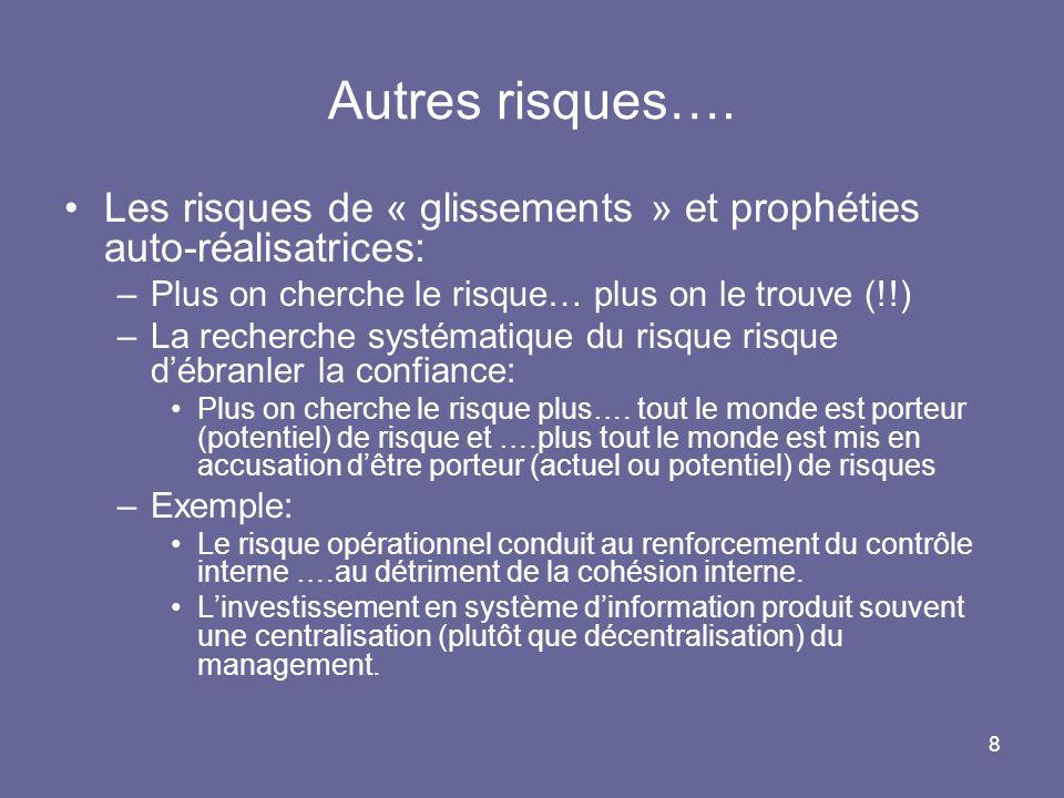 Autres risques…. Les risques de « glissements » et prophéties auto-réalisatrices: Plus on cherche le risque… plus on le trouve (!!)