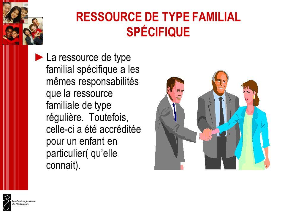 RESSOURCE DE TYPE FAMILIAL SPÉCIFIQUE