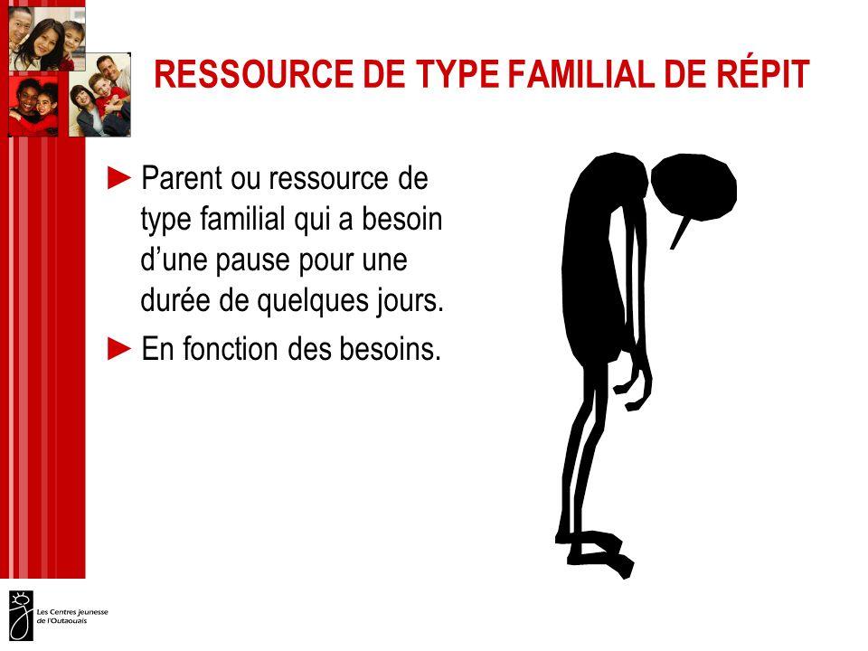 RESSOURCE DE TYPE FAMILIAL DE RÉPIT