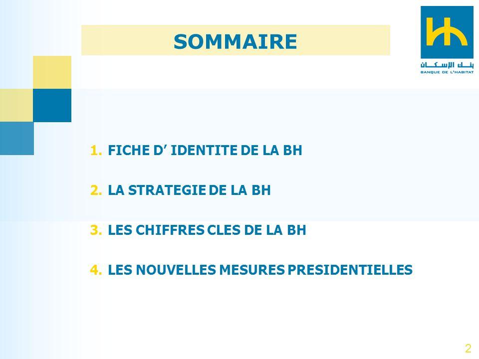SOMMAIRE FICHE D' IDENTITE DE LA BH LA STRATEGIE DE LA BH