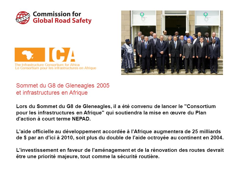 Sommet du G8 de Gleneagles 2005 et infrastructures en Afrique
