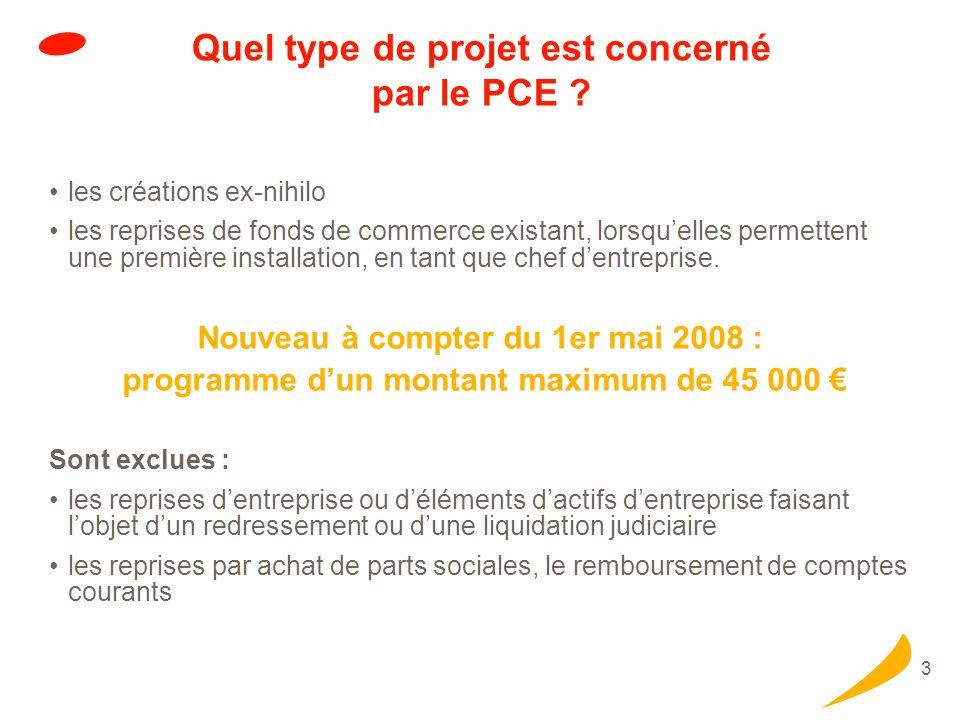 Modalités du PCE de 2 000 € à 7 000 € sans garantie ni caution personnelle du dirigeant. durée : 5 ans, dont 6 mois de franchise.