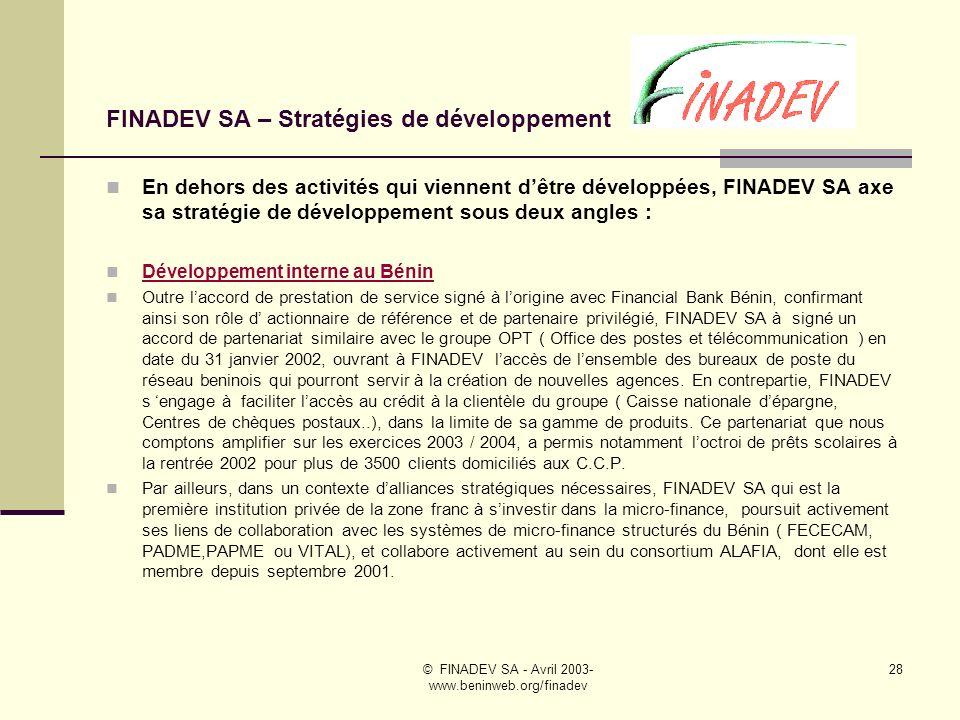 FINADEV SA – Stratégies de développement