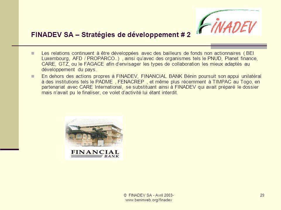 FINADEV SA – Stratégies de développement # 2