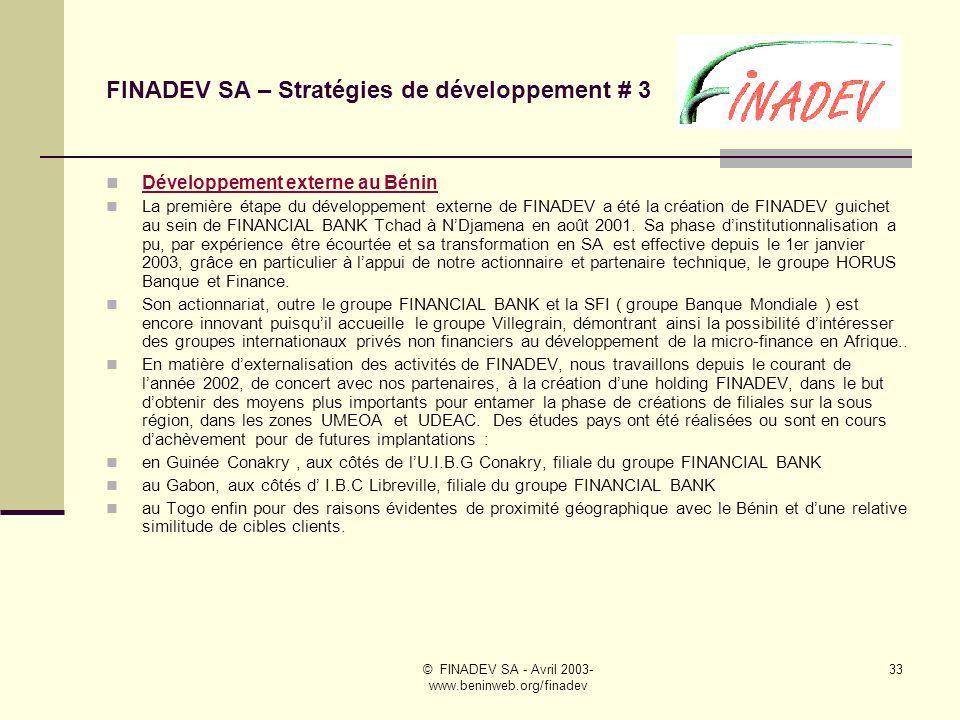 FINADEV SA – Stratégies de développement # 3