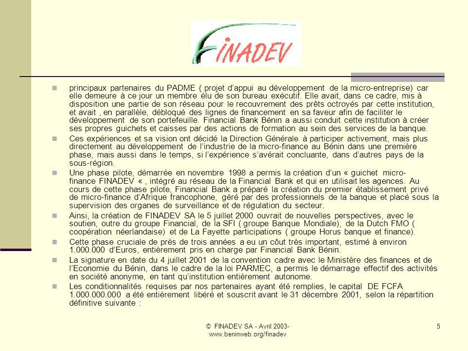 © FINADEV SA - Avril 2003- www.beninweb.org/finadev