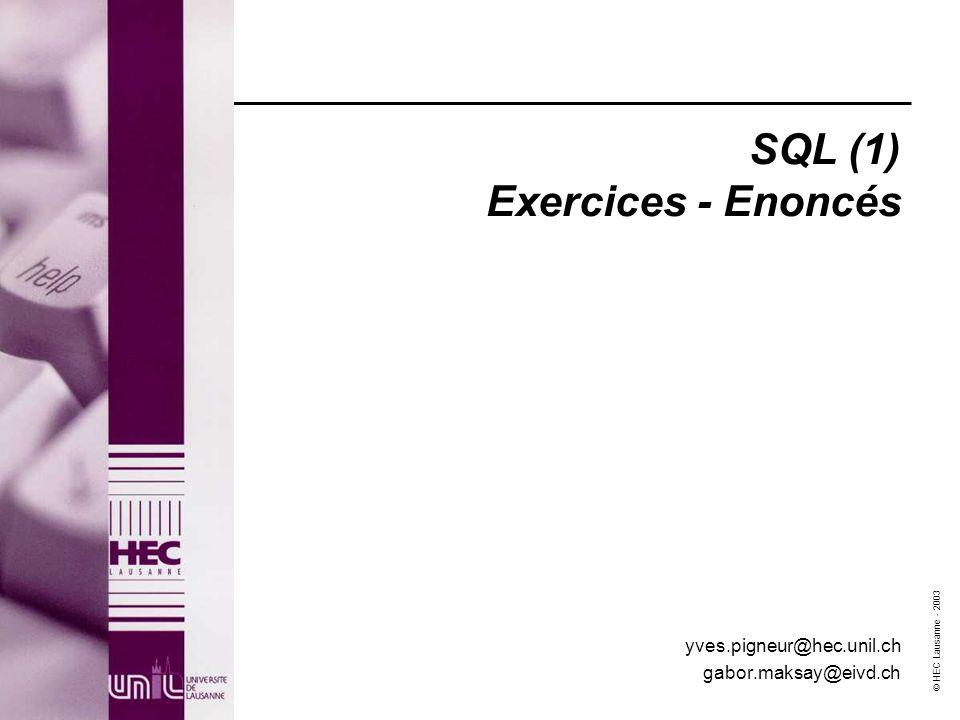 SQL (1) Exercices - Enoncés