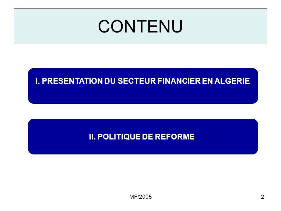 CONTENU I. PRESENTATION DU SECTEUR FINANCIER EN ALGERIE