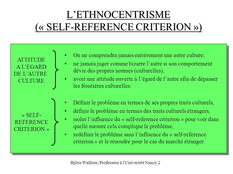 L'ETHNOCENTRISME (« SELF-REFERENCE CRITERION »)