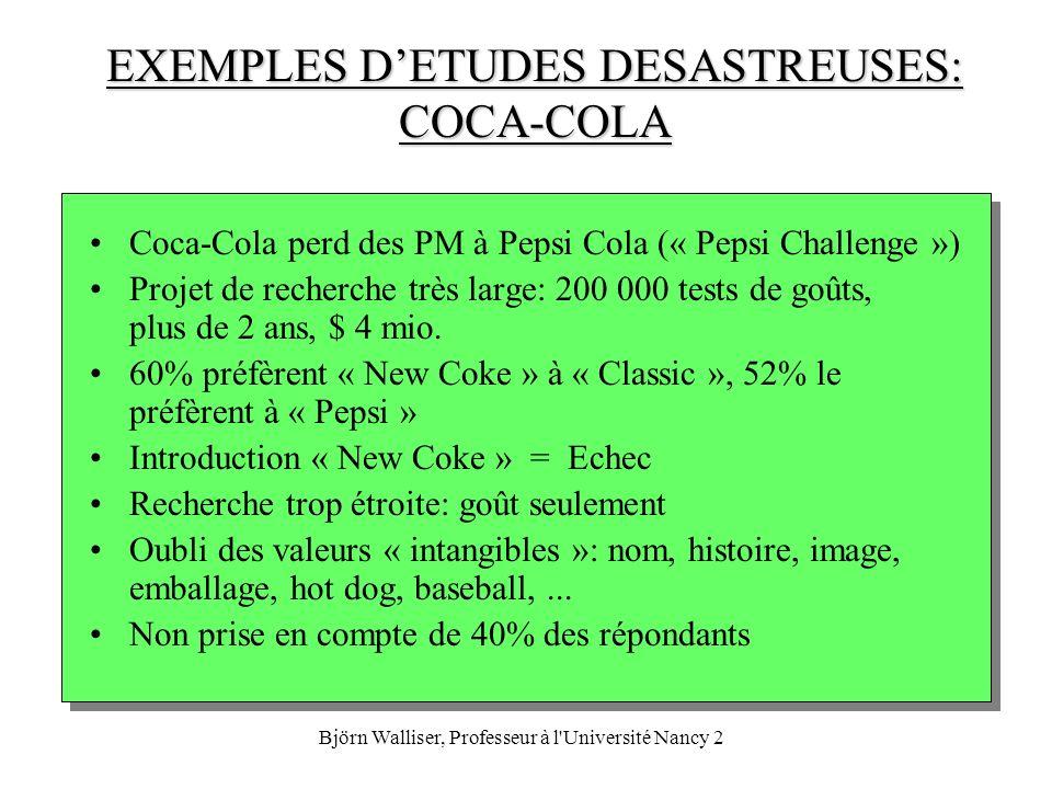 EXEMPLES D'ETUDES DESASTREUSES: COCA-COLA