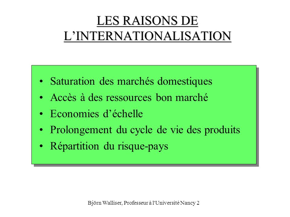 LES RAISONS DE L'INTERNATIONALISATION