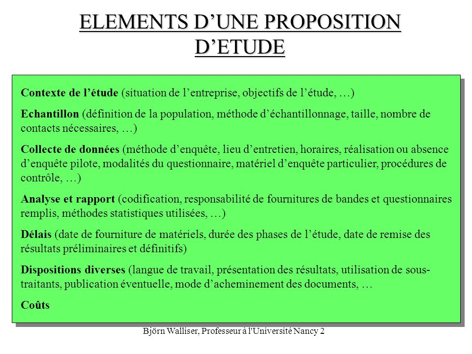 ELEMENTS D'UNE PROPOSITION D'ETUDE